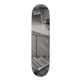 Navy Pier Stairs Grayscale Skateboard
