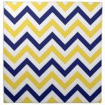 Navy, Pineapple, Wht Large Chevron ZigZag Pattern Cloth Napkin