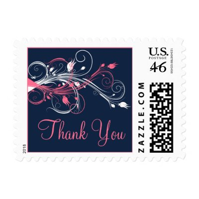 This personalized navy blue pink and white floral wedding thankyou postage