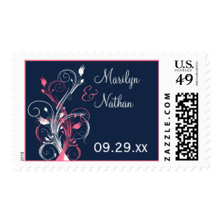 Navy, Pink, and White Floral Wedding Postage