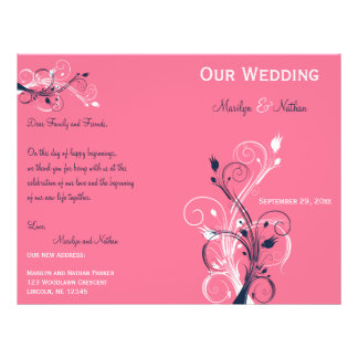 Navy, Pink, and White Floral Wedding Program