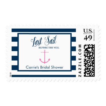 Beach Themed Navy Pink Bridal Shower Nautical Postage, Medium Postage