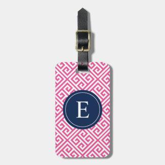 Navy & Pink Greek Key | Luggage Tag