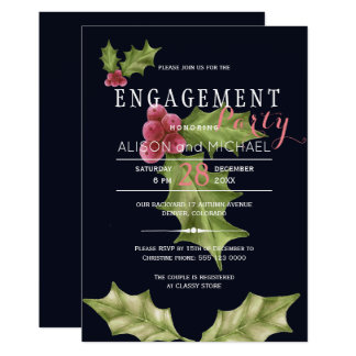 Navy pink holly berry winter engagement party card