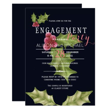 Christmas Themed Navy pink holly berry winter engagement party card