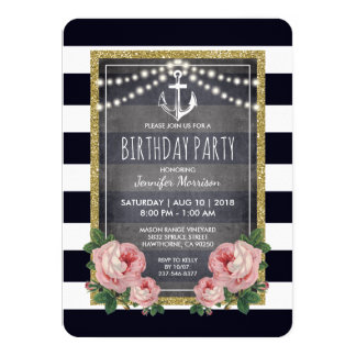Navy Pink Nautical Birthday Party Card