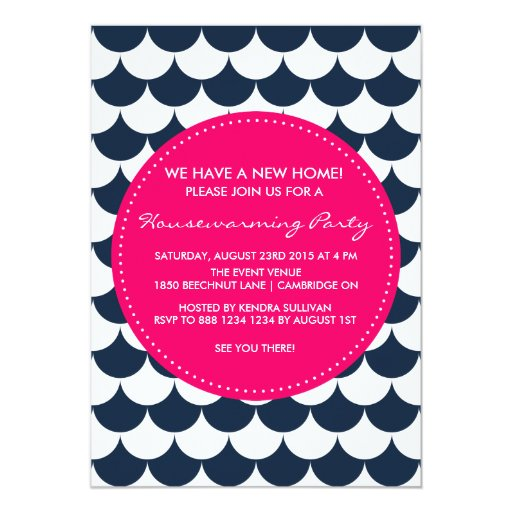 Navy & Pink Nautical Housewarming Party Invitation