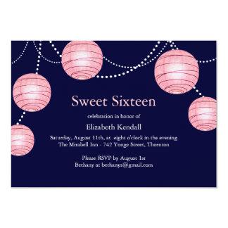 Navy & Pink Party Lantern Sweet 16 Invitation