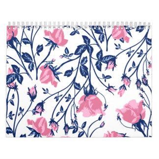 Navy & Pink Rose Floral Flower Print Calendar