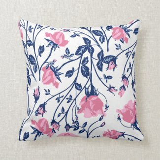 Navy & Pink Rose Floral Flower Print Throw Pillow