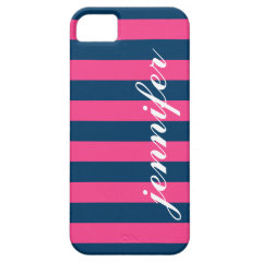 Navy Pink Stripes & Monogram | Apple iPhone 5 iPhone 5 Cover