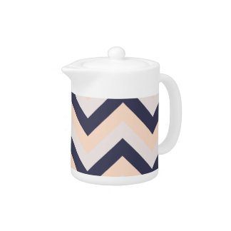 Navy Pink Wedding Colors Modern Chevron Pattern Teapot