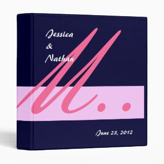 Navy & Pink Wedding Monogram Planner Photo Binder