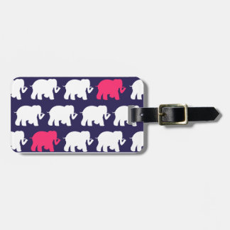 Navy, Pink & white elephants design Bag Tag