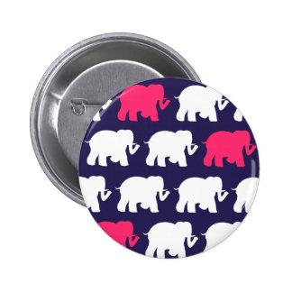 Navy, Pink & white elephants design Button