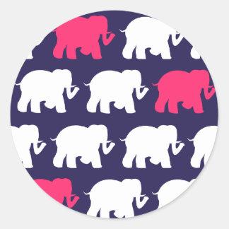 Navy, Pink & white elephants design Classic Round Sticker