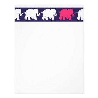 Navy, Pink & white elephants design Letterhead