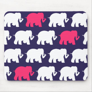 Navy, Pink & white elephants design Mouse Pad