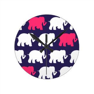 Navy, Pink & white elephants design Round Clock