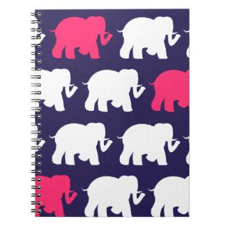Navy, Pink & white elephants design Spiral Notebook