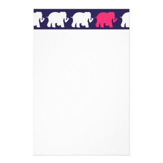 Navy, Pink & white elephants design Stationery