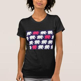Navy, Pink & white elephants design T-Shirt