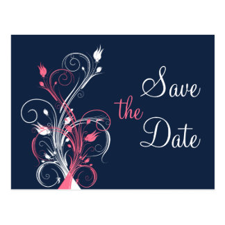Navy Pink White Floral Save the Date Post Card