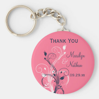 Navy Pink White Floral Wedding Favor Key Chain