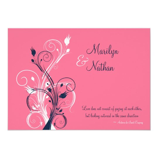 Navy, Pink, White Floral Wedding Invitation