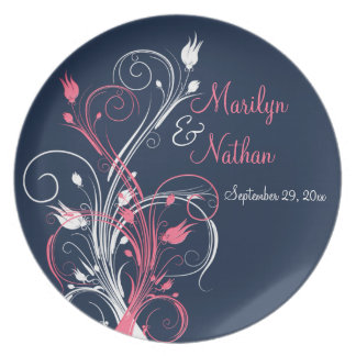 Navy Pink White Wedding Keepsake Melamine Plate