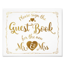 navy Please sign our guest book sign gold