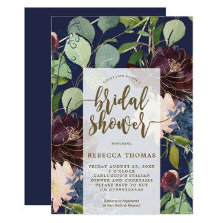 navy plum gold floral bridal shower invitation