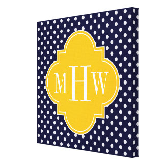 Navy Polka Dot Goldenrod Quatrefoil 3 Monogram Canvas Print