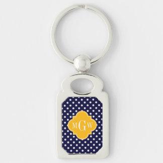 Navy Polka Dot Goldenrod Quatrefoil 3 Monogram Keychain