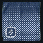 """Navy Polka Dot with White Monogram Bandana<br><div class=""""desc"""">Cute and bright monogram bandana design! Polka dot patterned with elegant monogram motif. A wonderful accessory for your pet! Want a different color? Click on the personalize button and click for further customization to change the background color.</div>"""