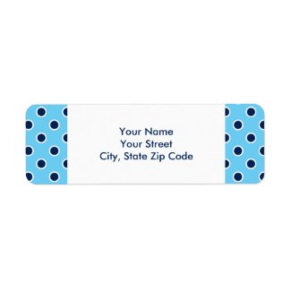 Navy Polka Dots on Sky Blue address labels