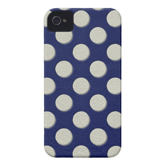 Navy Polka Dots on white Leather print Case-Mate iPhone 4 Case