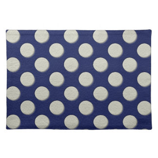 Navy Polka Dots on white Leather print Cloth Placemat
