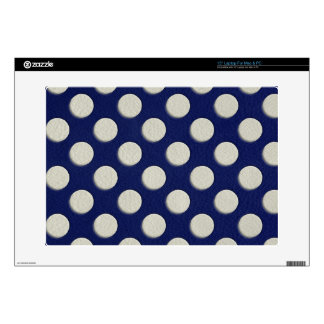 """Navy Polka Dots on white Leather print Decals For 15"""" Laptops"""