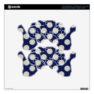 Navy Polka Dots on white Leather print PS3 Controller Decals