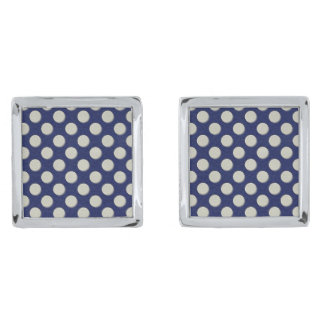 Navy Polka Dots on white Leather print Silver Cufflinks