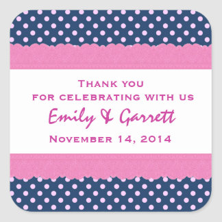 Navy Polka Dots Thank You Double Lace Wedding V30 Square Sticker