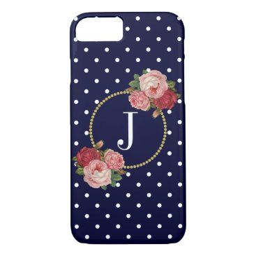 Navy Polka Dots Vintage Floral Chic Gold Monogram iPhone 8/7 Case