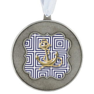 navy preppy pattern nautical anchor scalloped ornament