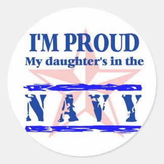 Navy proud - daughter classic round sticker