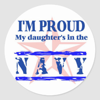 Navy proud - daughter round stickers