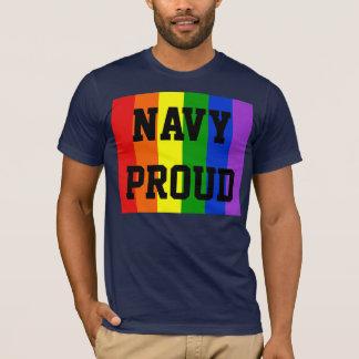 Navy Proud Gay Rainbow Dark T-Shirt