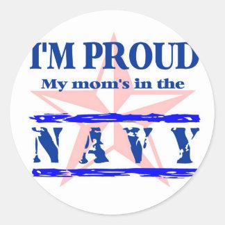 navy proud - mom classic round sticker