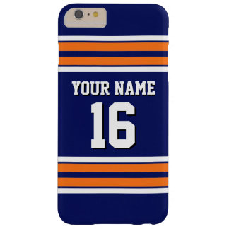Navy Pumpkin Orange Team Jersey Custom Number Name Barely There iPhone 6 Plus Case