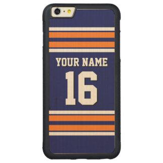 Navy Pumpkin Orange Team Jersey Custom Number Name Carved Maple iPhone 6 Plus Bumper Case